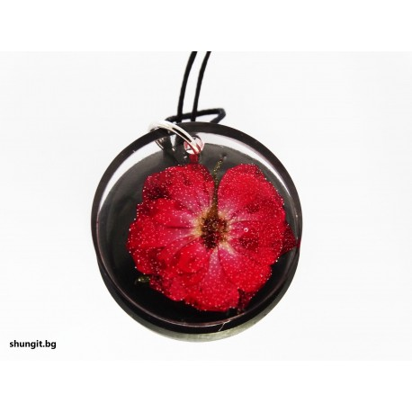 Медальон от шунгит и висулка от смола с естествено цвете