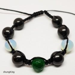 Гривна шамбала от шунгит, лунен  камък и естествен смарагд