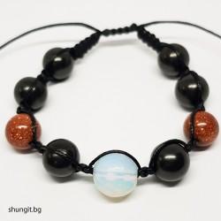 Гривна шамбала от шунгит, лунен и слънчев камък