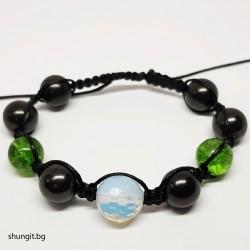 Гривна от шунгит, лунен камък и турмалинов кварц