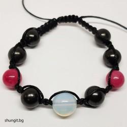Гривна шамбала от шунгит, лунен камък и розов ахат