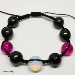 Гривна шамбала от шунгит, лунен камък и турмалинов  кварц