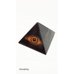 """Пирамида от шунгит 5x5см """" Окото на планината """""""