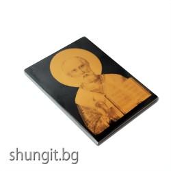 Икона върху шунгит  Николай чудотворец 9x12x1см