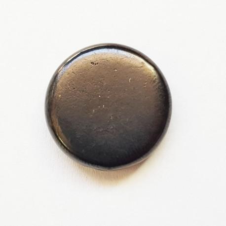 Полирано мънисто монетка с диаметър  19мм и дебелина 4мм от шунгит  с дупка  за бижута