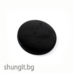 Магнитен полиран кръг от шунгит 5мм за хладилник