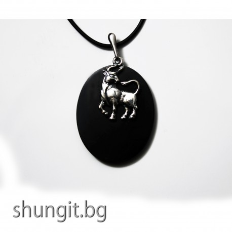 """Медальон от шунгит със зодиакален знак """"Телец"""""""