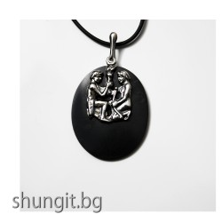 "Медальон от шунгит със зодиакален знак ""Близнаци"""