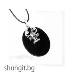 "Медальон от шунгит със зодиакален знак ""Рак"""