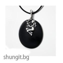 """Медальон от шунгит със зодиакален знак """"Дева"""""""