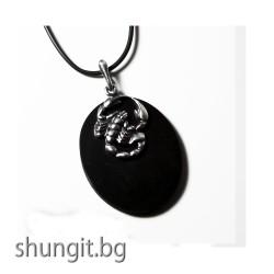 """Медальон от шунгит със зодиакален знак """"Скорпион"""""""