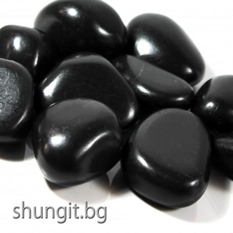 Барабанно полиран камък от шунгит с тежина от 15 до 20гр. броя и размер M