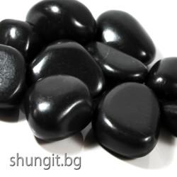 Барабанно полиран камък от шунгит с тежина от 30 до 40гр. броя и размер XL
