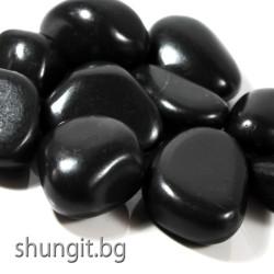 Барабанно полиран камък от шунгит с тежина от 40 до 50гр. броя и размер XXL