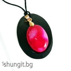 Медальон от шунгит и розов ахат