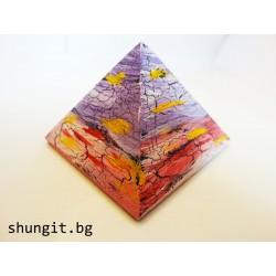 Пирамида от шунгит 7x7 см-Ръчно рисувана