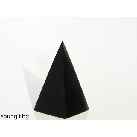 """Пирамида от шунгит 3x3 см.(полирана) """"Голода"""""""