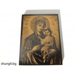 Икона върху шунгит Дева Мария с младенеца 9x12x1см